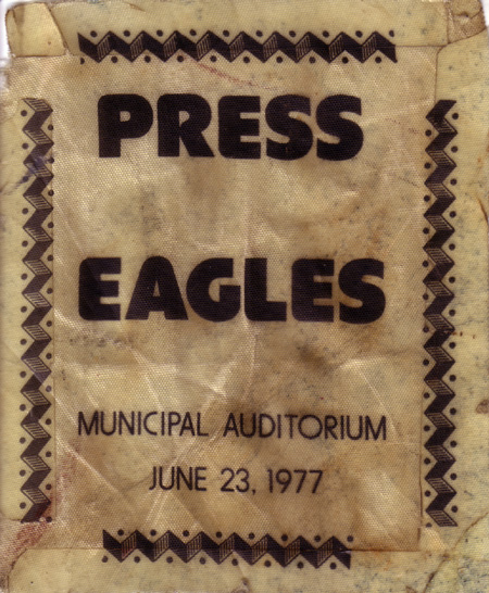 Eagles Basck Stage Pass 1977 Nashville